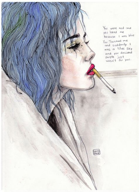 """lucasbavid: """"You were red and you liked me because i was blue, you touched me and suddenly i was a lilac sky and you decided purple just wasn't for you. - Halsey """""""