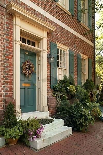 Image Result For Door Colors For Red Brick House Double Door Brick Exterior House Red Brick House Brick House Exterior Colors