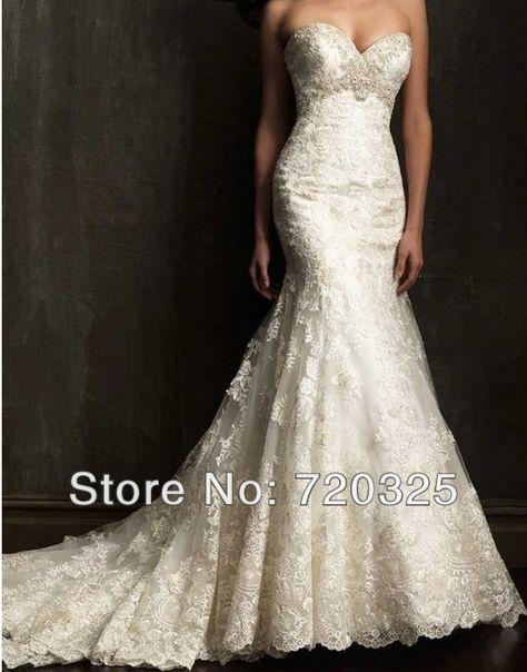 ivory white lace mermaid wedding dresses | wedding dresses size