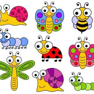 Cute Bugs Clip Art Insects Clipart Ladybug Snail Dragonfly Fly Bee Caterpillar Spider Instant Download Ydc131 In 2021 Insect Clipart Clip Art Ladybug