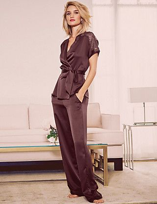 Indulge in stylish new season lace satin wrap pyjamas in burgundy - perfect for autumn!