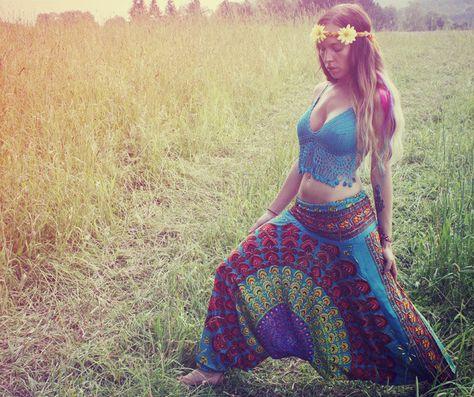Handmade Harem Pants, Gypsy Pants, Romper, Aladdin, Genie, Hippie Skirt, Yoga, India, Pants - Basic Shape.