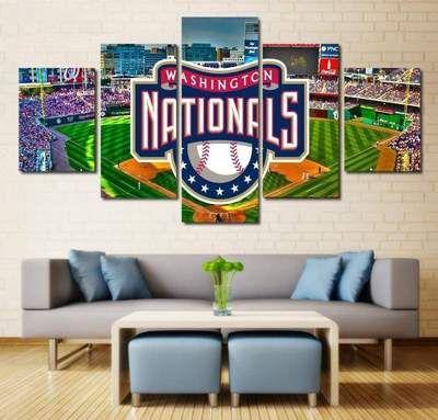 Los Angeles Dodgers Mlb Baseball 5 Panel Canvas Wall Art Home Decor Wall Decor Living Room Living Room Paint Home Decor Wall Art
