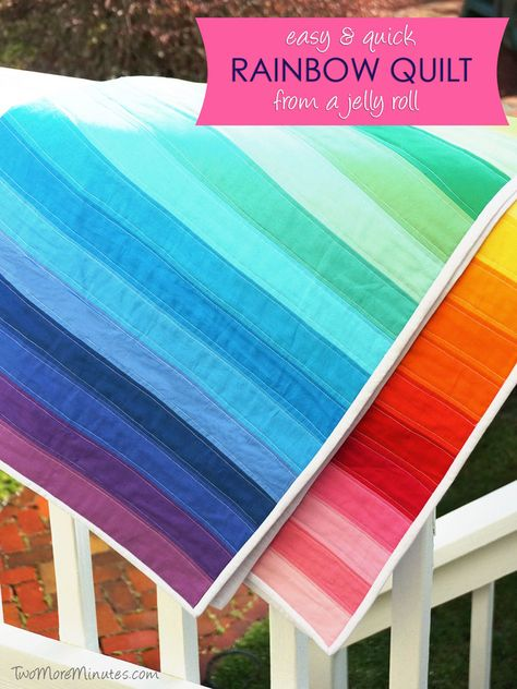 Easy Rainbow Quilt from a Jelly Roll — Two More Minutes