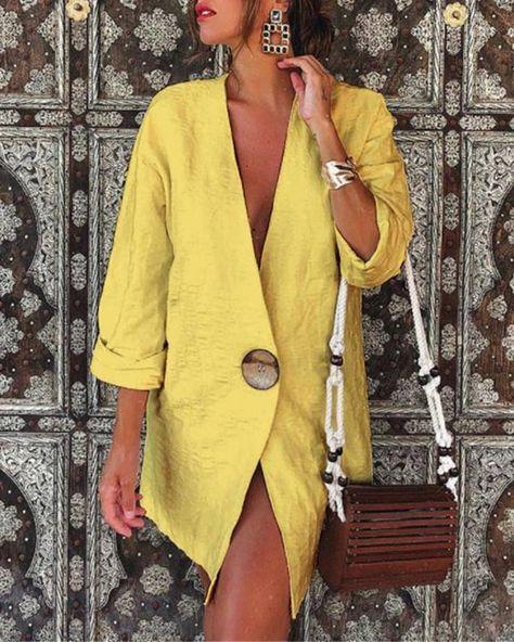 Women's Solid V Neck Cotton  Linen Blazer Top – Prilly outwear fashion outwear jacket warm coat outfit coats for women #fallcoats#warm#casualcoats