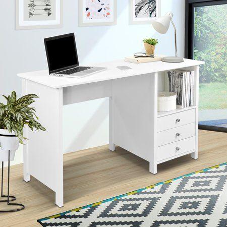 Techni Mobili Contempo Desk With 3 Storage Drawers White Walmart Com White Desk Bedroom Storage Drawers Simple White Desk