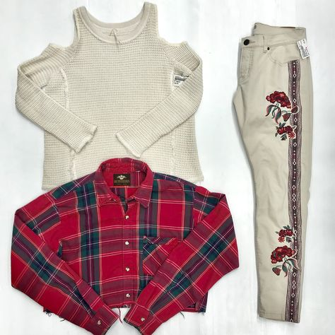 c554171e22af1 Off-the-shoulder...check! Plaid...check! Sweet embroidery...check ...
