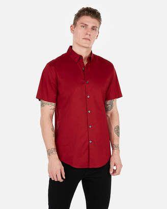 Express Slim Short Sleeve Button Down Dress Shirt   Short sleeve ...
