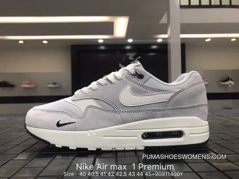 new concept 52d04 2baef Nike Air Max 1 Premium Mens Suede Leather Retro Running Shoes 875844-006  LIGHT GREY   OFF-WHITE Copuon