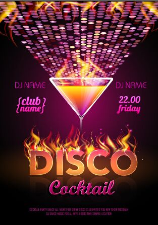 Cocktail Disco Night Party Poster Vector Set   Vector
