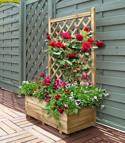 Rosa Planter Looks Great With The Trellis Piece Behind Https Www Stfencing Co Uk Product Grange Ros Wooden Garden Trellis Planter Trellis Flower Planters