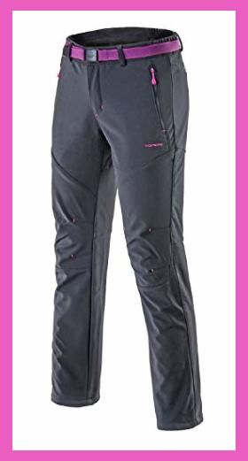 Tofern Womens Winter Warm Breathable Waterproof Windproof Softshell Pants Outdoor Hiking Climbing Camping Cycling Trousers