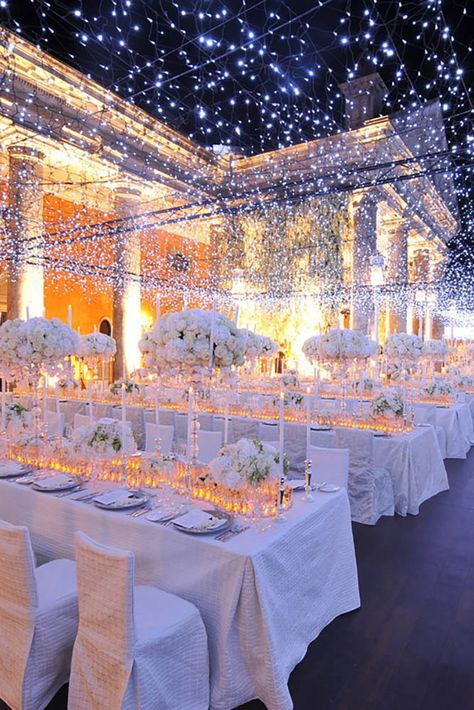 35 Amazing Wedding party Illumination Concepts That Really Inspire White Wedding Decorations, Quinceanera Decorations, Wedding Themes, Wedding Designs, Wedding Ideas, Hall Decorations, Wedding Cakes, Funny Wedding Signs, Wedding Humor