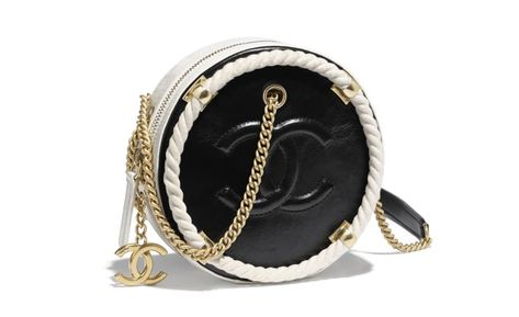 8b430ce6adce1e Small Round Bag, crumpled calfskin, cotton & gold-tone metal., black & white.  - CHANEL