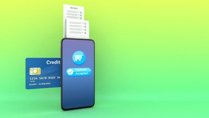 Insert Credit Card To A Phone Printing Paper Receipt Mobile Payment Concept 3d Rendering Ad Phone Printing Ca Mobile Credit Card Phone Banking App
