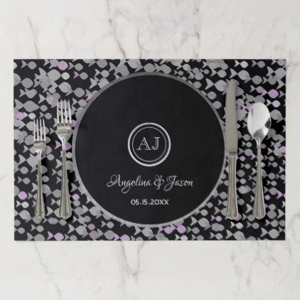 Silver Black And White Ocean Fish Elegant Wedding Paper Placemat Ocean Side Nature Waves Freedom Design Wedding Paper Pattern Paper Placemats