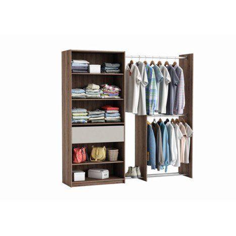 Kit Dressing Effet Noyer Xxl H 203 X L 208 X P 44 Cm X P De La Joue44 Cm Armoire Penderie Dressing Blanc Penderie