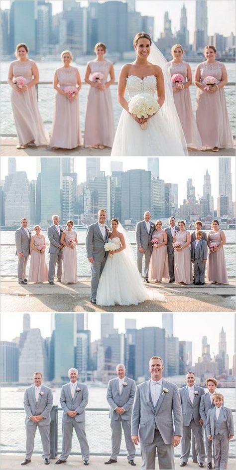pink and gray NYC wedding skyline portraits bridal party ideas city wedding