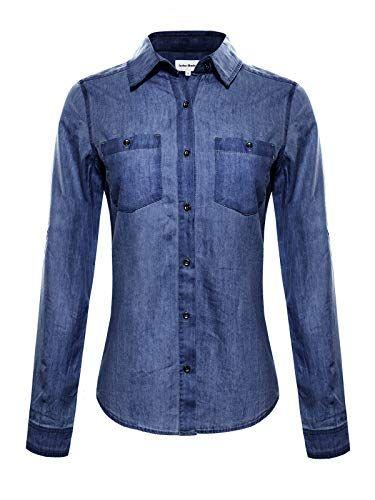 b9cfeb988544 Instar Mode Women's Basic Classic Long/Roll Up Sleeve Button Down Chambray  Denim Shirt Tunic (S-3XL)