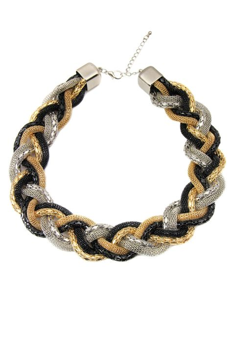 Braided Necklace In Multicolor.