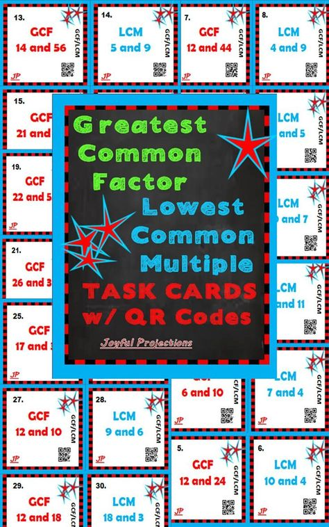 Greatest Common Factor / Lowest Common Multiple Task Cards w/ QR Codes