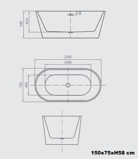 Vasca Da Bagno Freestanding 170x80 160x80 150x75 Stile Moderno
