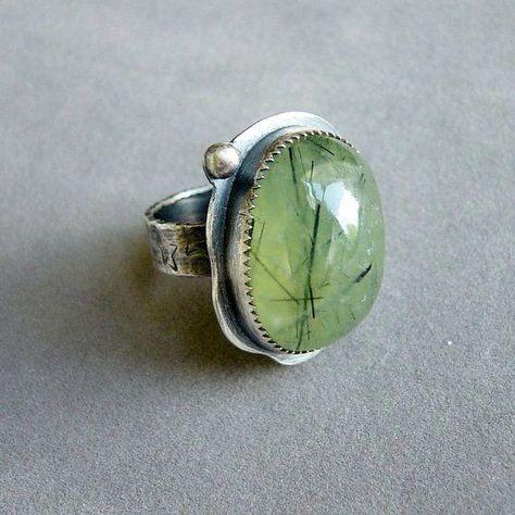 Green Prehnite Sterling Silver Ring Size 7 by PearlinaStudio.