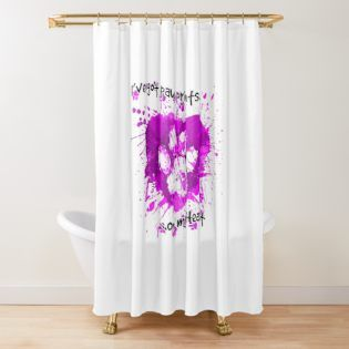 Paw Prints On My Heart Hot Pink Shower Curtain By Unitedpaws