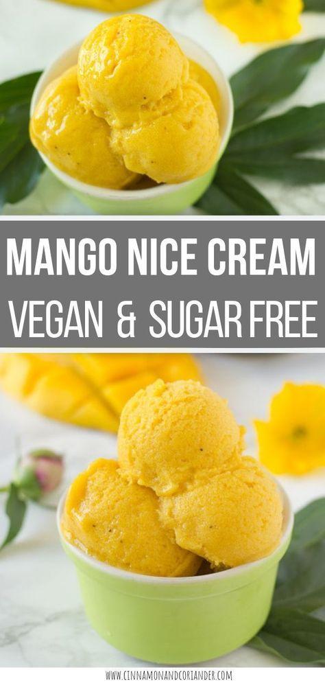 VEGAN MANGO NICE CREAM   This easy 3-ingredient No-Churn Vegan Mango Nice Cream recipe is a healthy frozen summer treat that is low in calories, gluten-free, dairy-free and has no added sugar! No Ice Cream Maker needed. . #veganrecipes #sugarfree #paleo #healthydessert