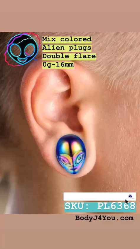 BodyJ4You Glass Ear Plugs Glossy Purple Green Mix Alien Face Double Flare Gauges Expander 0G-16mm