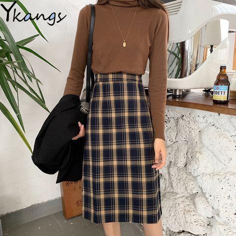 33.77US $  Vintage Autumn plaid Wool Midi Skirts Elegant Women Winter Warm Pencil Skirt Korean style Students Girls High Waist Faldas Muje Skirts    - AliExpress