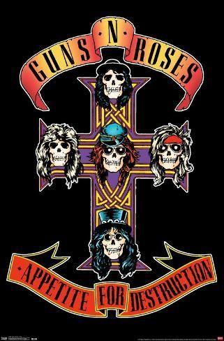 Poster Guns N Roses Cross 22x15in Rock Band Posters Guns N Roses Music Poster