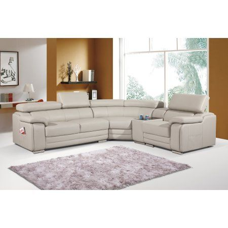 Grey Leather Match 4pcs Delta Sectional Sofa Living Room Furniture Console Cup Holder Loveseat Corn Leather Corner Sofa Grey Leather Corner Sofa Sectional Sofa