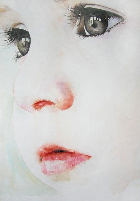 Visage d'enfant en aquarelle ... très beau !