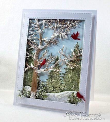 Card Making Ideas | Paper Crafts | Handmade Greeting Cards | Scene Cards | Christmas Cards.  Click on the picture if you would like to see how I made this card.