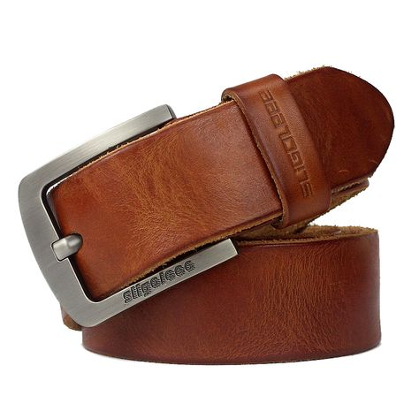 Men Belt 100/% Cowhide Alloy Pin Buckle Blue Color Personality Choice Cowhide