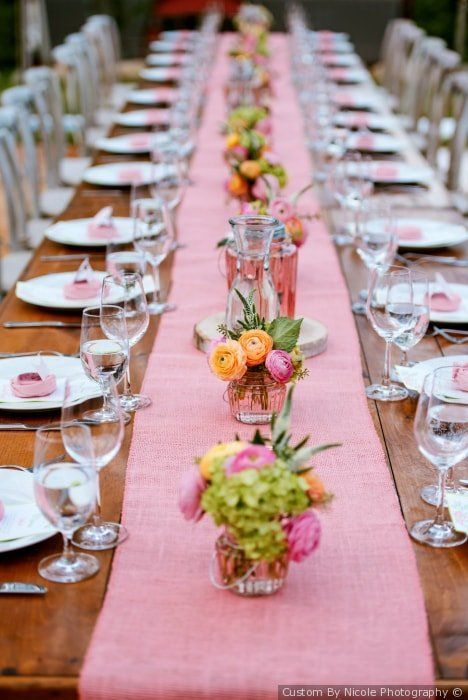 Light Pink Table Runner Bright Floral Centerpieces Wedding Table Settings Custom By Nicole Phot Wedding Floral Centerpieces Wedding Table Settings Wedding