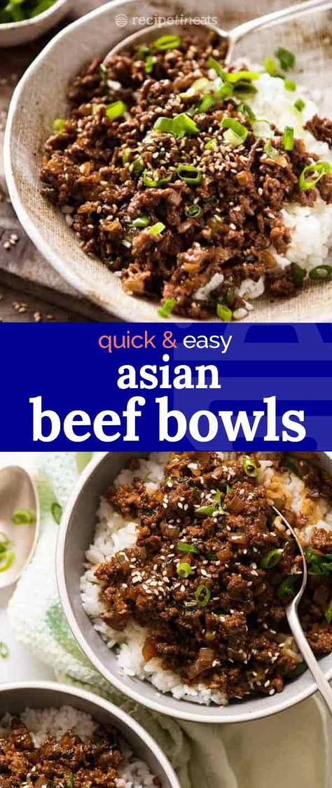 Say goodbye to boring beef mince recipes….. these Asian Beef Bowls are super tasty, super easy and SUPER fast! Made with just a handful of staple Asian condiments, the ground beef can be switched with chicken, pork or even turkey.