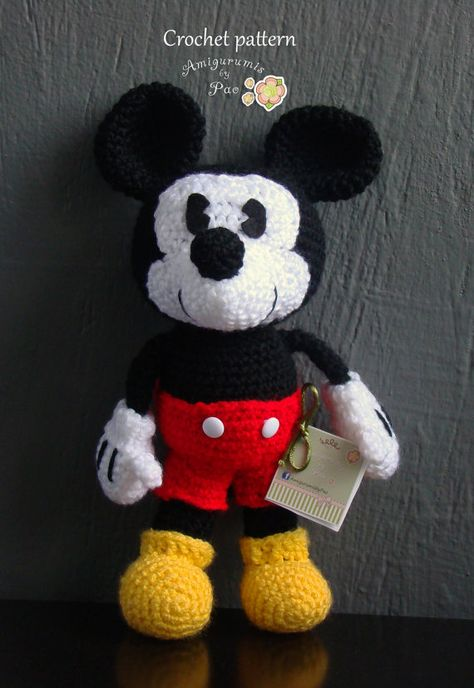 Free Mickey Mouse Stuffed Toy Crochet Patterns Crocheted Mickey