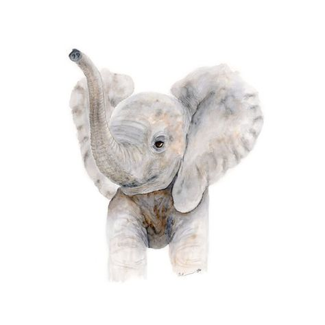 This Nursery Art Print is a print of my original Baby Elephant Watercolor of a Baby Elephant with her trumpeting up. The baby animal print is beautiful as elephant nursery wall art or kids wall decor for either a boy or a girl with its gender neutral nursery tones of gray and tan.