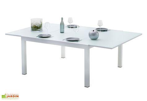 table de jardin extensible en aluminium et en verre blanc ...