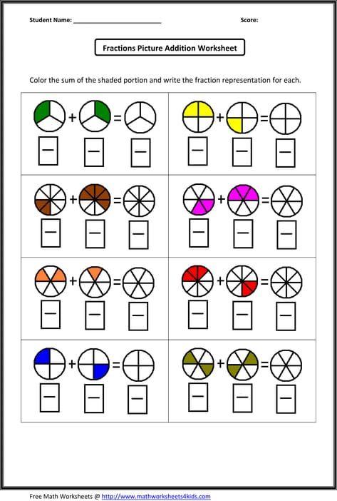 Fraction Addition Worksheets Fractions Worksheets Adding Fractions Math Fractions Worksheets Adding fractions using models worksheets