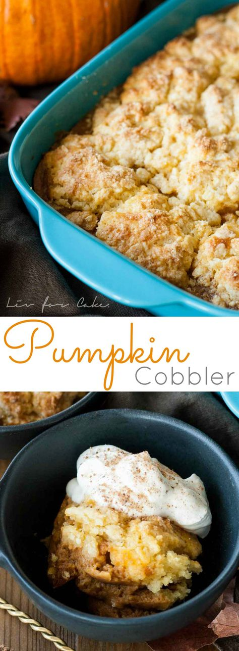 Pumpkin cobbler is the perfect comfort food for chilly Fall evenings and a wonderful way to wrap up your Thanksgiving dinner. | livforcake.com