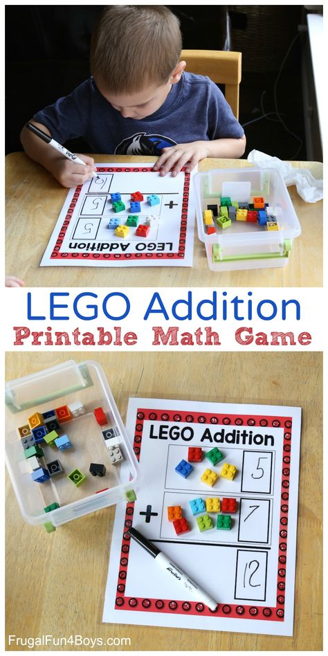 Addition Mats Printable Math Activity - Frugal Fun For Boys and Girls LEGO Addition Printable Math Games! Fantastic educational way to use LEGO! Fantastic educational way to use LEGO! Printable Math Games, Free Math Games, Free Printables, Best Math Games, Maths Games Ks1, 1st Grade Math Games, Counting Games, Skip Counting, Math For Kids