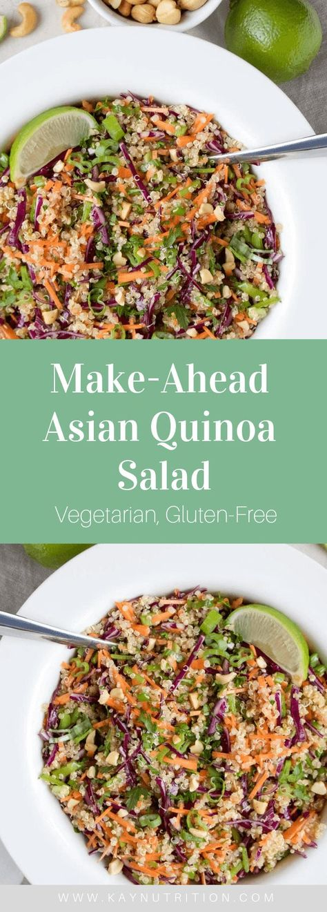 Make-Ahead Asian Quinoa Salad salad quinoa asian dressing makeahead mealprep recipe recipes healthy easy simple lunch glutenfree vegetarian 502784745898043422 Asian Quinoa Salad, Quinoa Salat, Dressing For Quinoa Salad, Cold Quinoa Salad, Asian Salads, Healthy Salad Recipes, Gourmet Recipes, Cooking Recipes, Vegetarian Asian Recipes