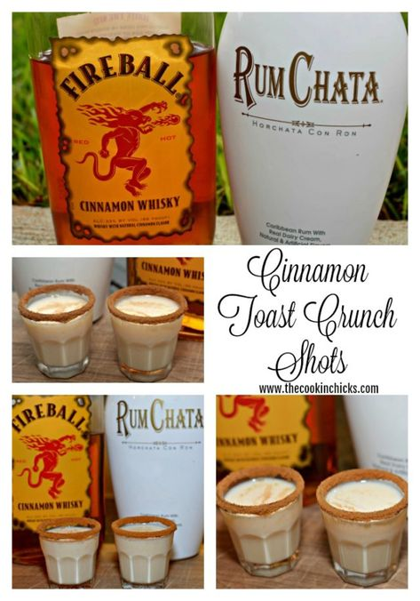 Cinnamon Toast Crunch Shots - The Cookin Chicks - - Who knew that by adding a little Rumchata with Fireball, you have a combination that is the adult version of Cinnamon Toast Crunch.in shot form! Rumchata Drinks, Fireball Drinks, Fireball Recipes, Jello Shot Recipes, Liquor Drinks, Alcohol Drink Recipes, Cocktail Drinks, Fun Drinks, Yummy Drinks