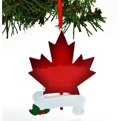 by Santa Personalized Christmas Ornament Maple Leaf Canada Hanging ...