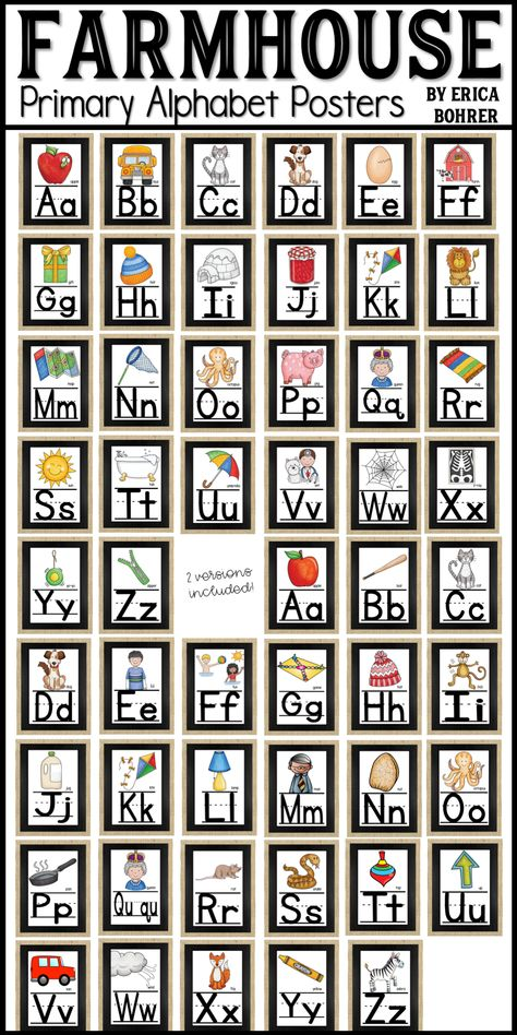 Farmhouse Style Alphabet Posters for the Classroom.  This packet comes with two versions of the Alphabet.  The posters are full sheets of letter paper sized.