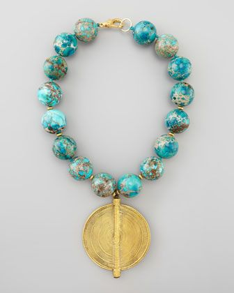 Chunky Turquoise Beaded Pendant Necklace by Nest at Neiman Marcus.