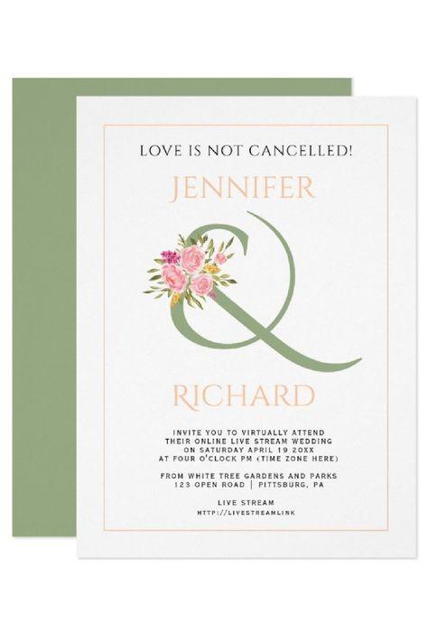 Sage green, peach ampersand, roses virtual wedding invitation. #invitation #wedding #virtualwedding #ampersand #roses #peach #sagegreen